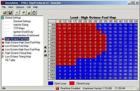 ECU maps editor screen