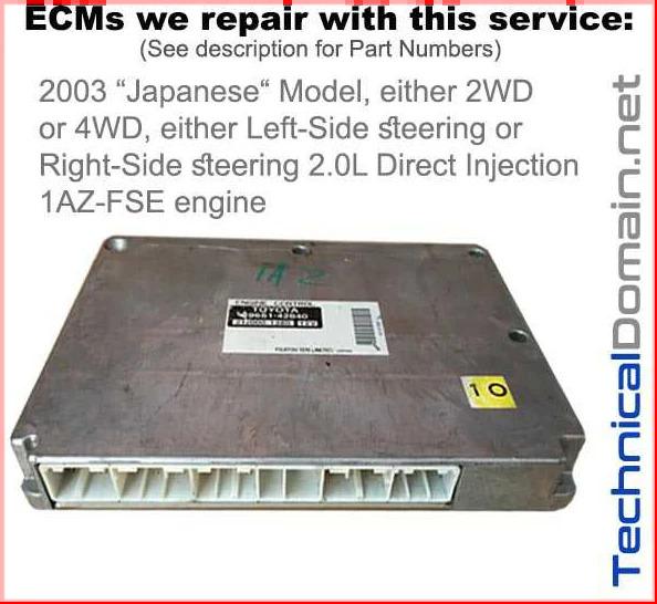 2003 rav4 ecm 1az-fse jdm direct injection
