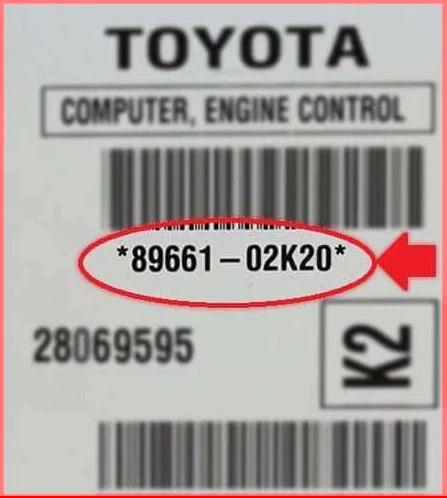 Example of 89661-02k20 Corolla ECM / ECU label