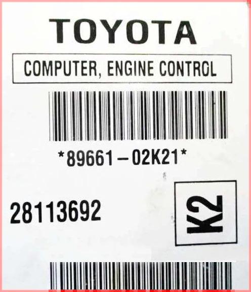 89661-02k21 Corolla ecm ecu label
