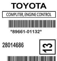 89661-01132 toyota matrix ecm label