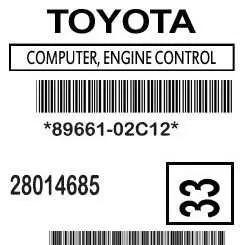 89661-02C12 Corolla ECM Label